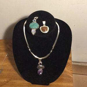 yazzie Navajo Sterling Choker necklace w/ pendants